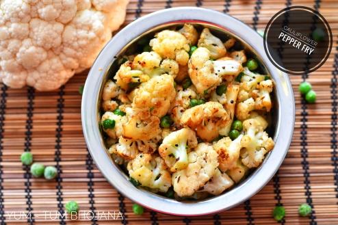 Cauliflower Pepper Fry Close up